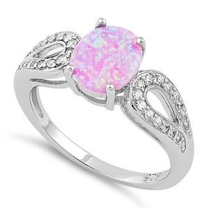 Sterling Silver Pretty Pink Oval Opal NEW Ring